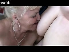 Old granny and bbw granny have fun with one man