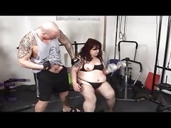 Horny gym instructor drilling a fat bitch