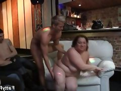 Bbw friends having a great time fucking in group