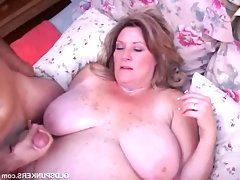 Blonde fatty deedra showered with cum