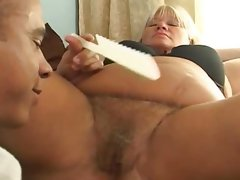 Mature fattie gets her hairy pussy drilled