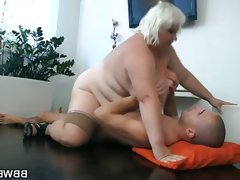 Blonde bbw rides a hard rod of meat into heaven