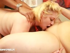 Two sexy and slutty blonde bbws share a hard cock