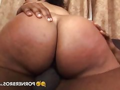 Chubby ebony with big boobs enjoys a black pecker