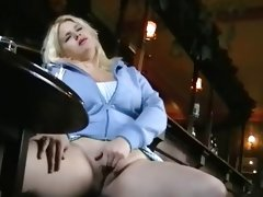 Busty amateur upskirts peek at sexy blonde voyeur