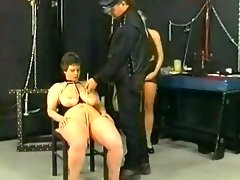Master hits and spanks slave on her ass tits and..