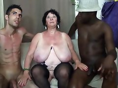 French bbw 65yo granny olga fucked by 2 men