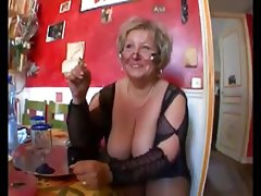 Hot shaved chubby granny in stockings fucking..