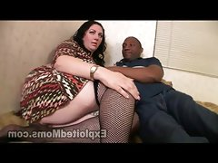 Chubby milf orgasms on black cock by getting..