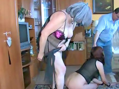 Brunette gets humiliated and spanked in threesome