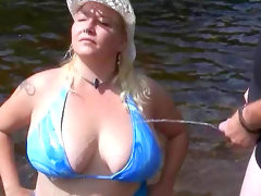Perverted beauty gets a load of sperm outdoors