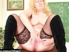 Well-endowed wifey teacher fucks herself plus a..