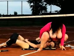 Bbw brunette facesits her tennis teacher at..
