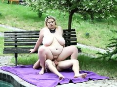 Bbw rebecca punishes her slave by the pool