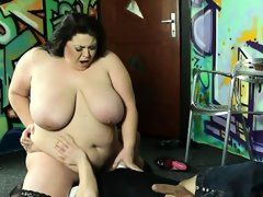 A restaraunt waiter gets punished by hot bbw lady